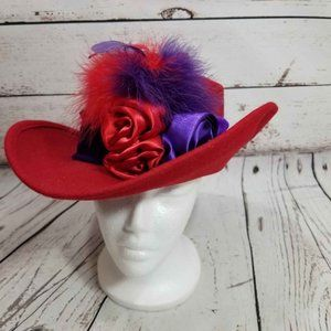 Something Special Hat Red wool Felt Feathers Flora